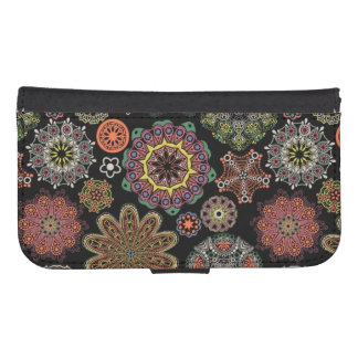 Colorful Assorted Geometric Ornaments Pattern Galaxy S4 Wallet Cases