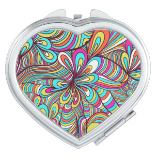 Colorful Assorted Psychedelic Swirls Pattern Travel Mirrors