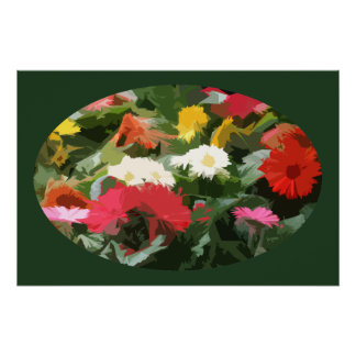 Colorful Asters Flowers Abstract Art in an Oval Poster