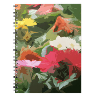 Colorful Asters Flowers Abstract Art Notebook