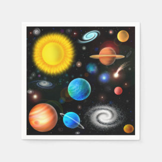 Colorful Astronomy Space Cocktail Napkins Paper Napkins