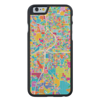 Colorful Atlanta Map Carved Maple iPhone 6 Case
