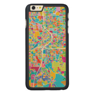 Colorful Atlanta Map Carved Maple iPhone 6 Plus Case
