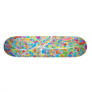 Colorful Atlanta Map Skate Board