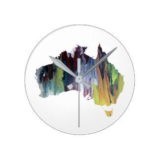 Colorful australia silhouette round clock