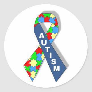 Colorful Autism Awareness Ribbon Round Sticker
