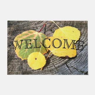 Colorful Autumn Aspen Leaves Photograph Doormat
