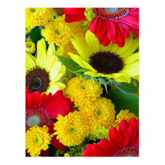 Colorful autumn floral bouquet postcard