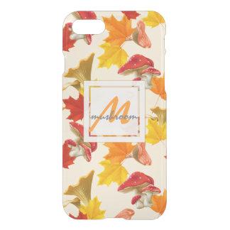 Colorful Autumn Leaves and Mushrooms Monogram iPhone 8/7 Case