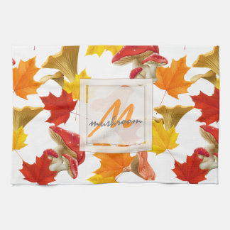 Colorful Autumn Leaves and Mushrooms Monogram Kitchen Towel