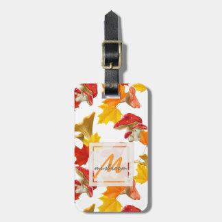 Colorful Autumn Leaves and Mushrooms Monogram Luggage Tag