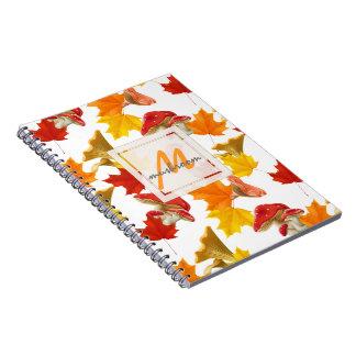 Colorful Autumn Leaves and Mushrooms Monogram Notebooks