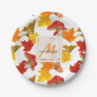 Colorful Autumn Leaves and Mushrooms Monogram Paper Plate