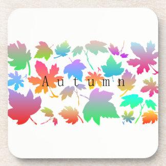 Colorful autumn leaves coaster