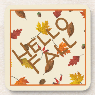 Colorful Autumn Leaves Design Coaster
