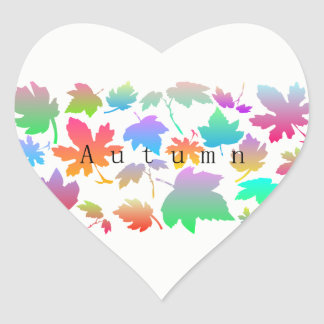 Colorful autumn leaves heart sticker