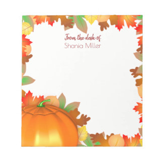 Colorful Autumn Leaves Pumpkin - Name Notepad