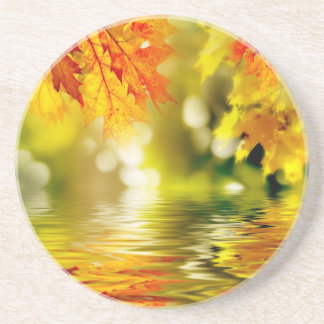 Colorful autumn leaves reflecting in the water 2 coasters