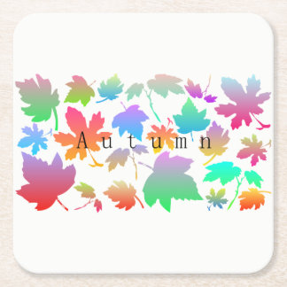 Colorful autumn leaves square paper coaster