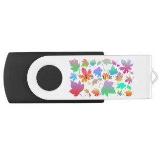 Colorful autumn leaves USB flash drive