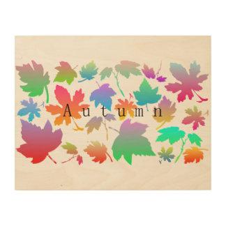 Colorful autumn leaves wood print