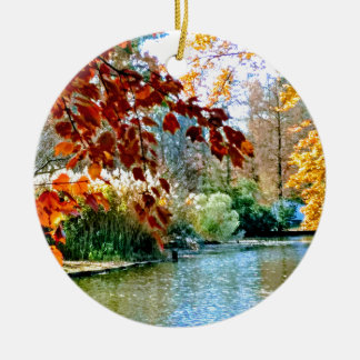 Colorful Autumn on the Water Ceramic Ornament