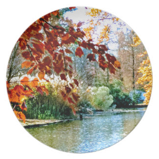 Colorful Autumn on the Water Plate