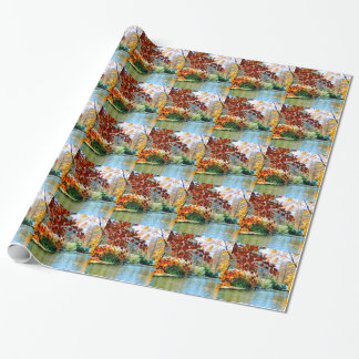 Colorful Autumn on the Water Wrapping Paper