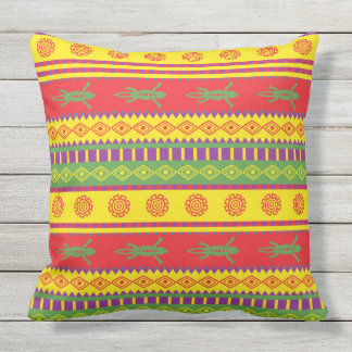 Colorful Aztec Abstract Pattern Throw Pillow