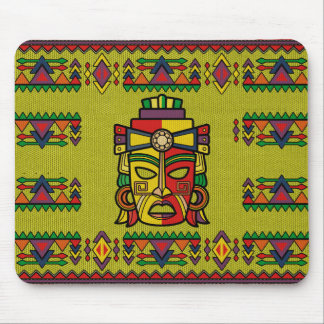 Colorful Aztec Inca Mayan Mask Mouse Pad
