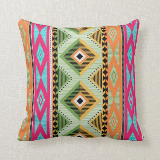 Colorful Aztec Pattern Throw Pillow