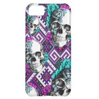Colorful Aztec pixel pattern with rose skulls Cover For iPhone 5C