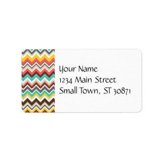 Colorful Aztec Tribal Chevron ZigZag Stripes Print Label