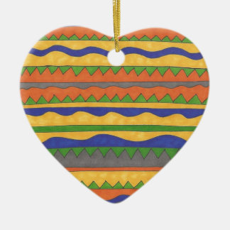 Colorful Aztec Tribal Pattern Ceramic Heart Ornament