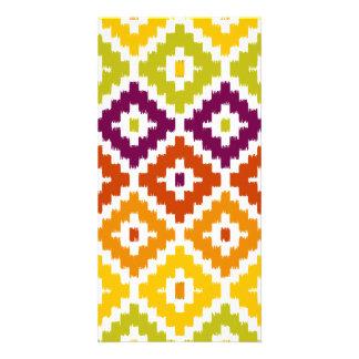 Colorful Aztec Tribal Print Ikat Diamond Pattern Picture Card
