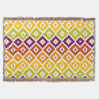 Colorful Aztec Tribal Print Ikat Diamond Pattern Throw Blanket