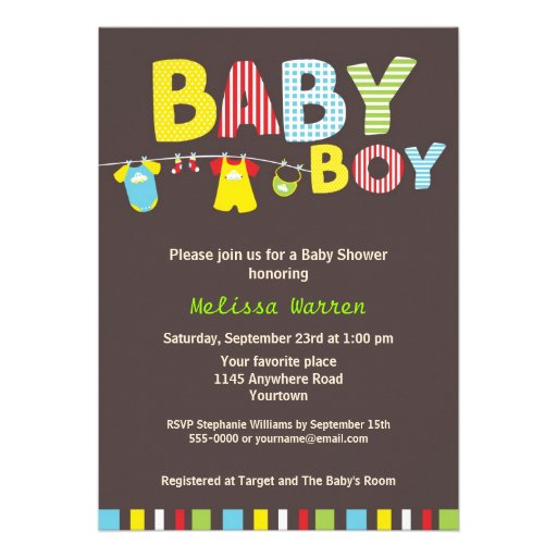 Colorful Baby Boy Shower with Clothesline Custom Invites