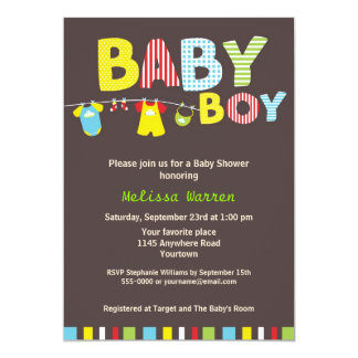 "Colorful Baby Boy Shower with Clothesline 5"" X 7"" Invitation Card"