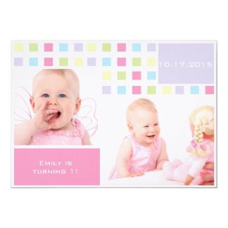 """Colorful Baby First Birthday Photo 5"""" X 7"""" Invitation Card"""