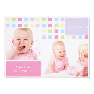 Colorful Baby First Birthday Photo Personalized Invites