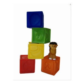 colorful baby play blocks postcard
