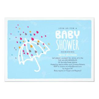 Colorful Baby Shower Umbrella Invitation