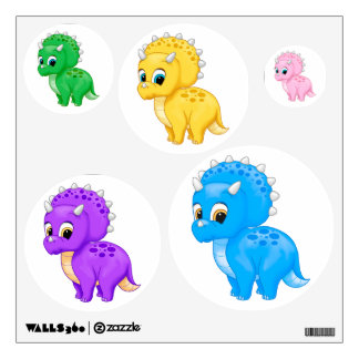 Colorful Baby Triceratops Dinosaurs Wall Decal