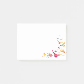 Colorful Backdrop Flying Bird Post-it Notes