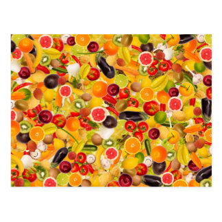 Colorful background OF fruits and vegetables Postcard