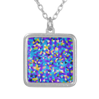 Colorful background silver plated necklace