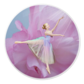 Colorful Ballerina in Arabesque Customizable Ceramic Knob