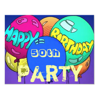 Colorful Balloons Birthday Party ~w/ Age Template Card