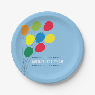 Colorful Balloons Boy's 1st Birthday Party 7 Inch Paper Plate
