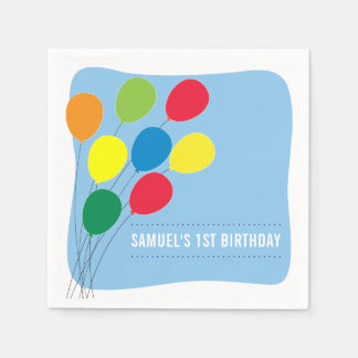 Colorful Balloons Boys 1st Birthday Party Disposable Napkin